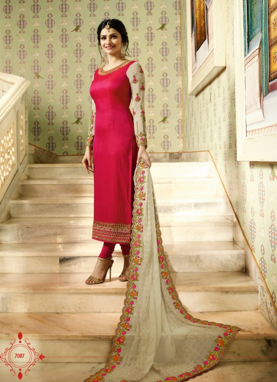 Red And Beige Silk And Net Straight Suits Kaseesh Mumtaz 7087 By Vinay Fashion
