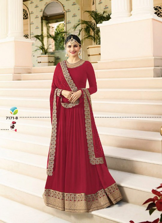 Red Georgette Floor Length Anarkali Raj Mahal 7171B By Vinay Fashion