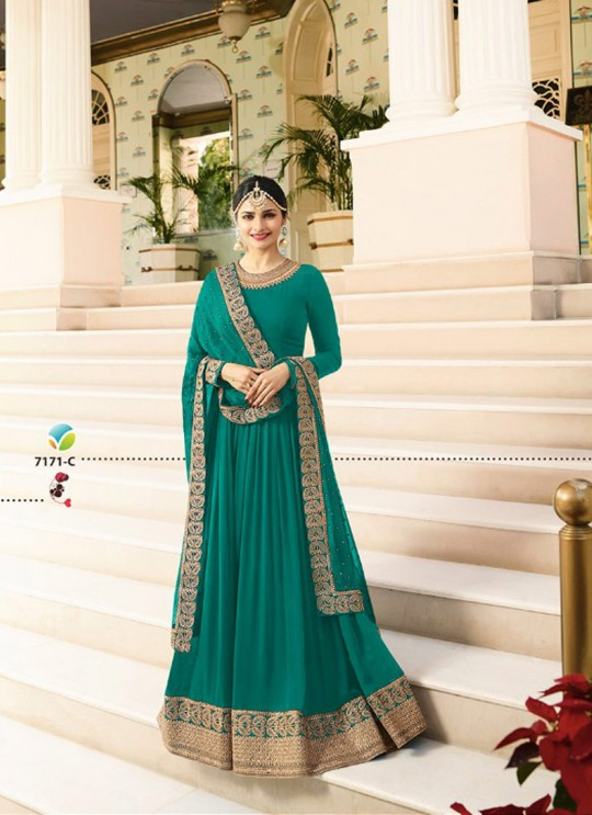 Sea Green Georgette Floor Length Anarkali Raj Mahal 7171C By Vinay Fashion