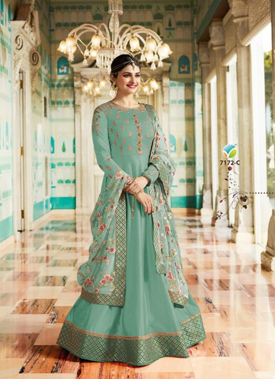 Green Silk Floor Length Anarkali Raj Mahal 7172C By Vinay Fashion