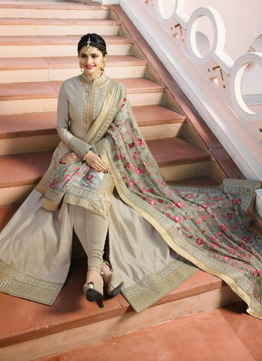 Beige Silk Floor Length Anarkali Raj Mahal 7174 By Vinay Fashion
