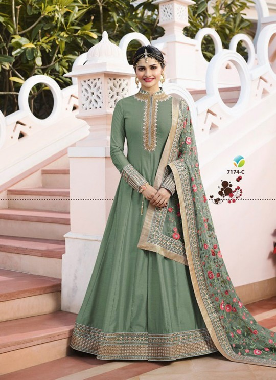 Green Silk Floor Length Anarkali Raj Mahal 7174C By Vinay Fashion