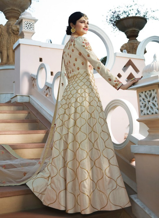Cream Silk Floor Length Anarkali Raj Mahal 7176 By Vinay Fashion