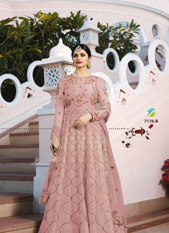 Pink Silk Floor Length Anarkali Raj Mahal 7176B By Vinay Fashion
