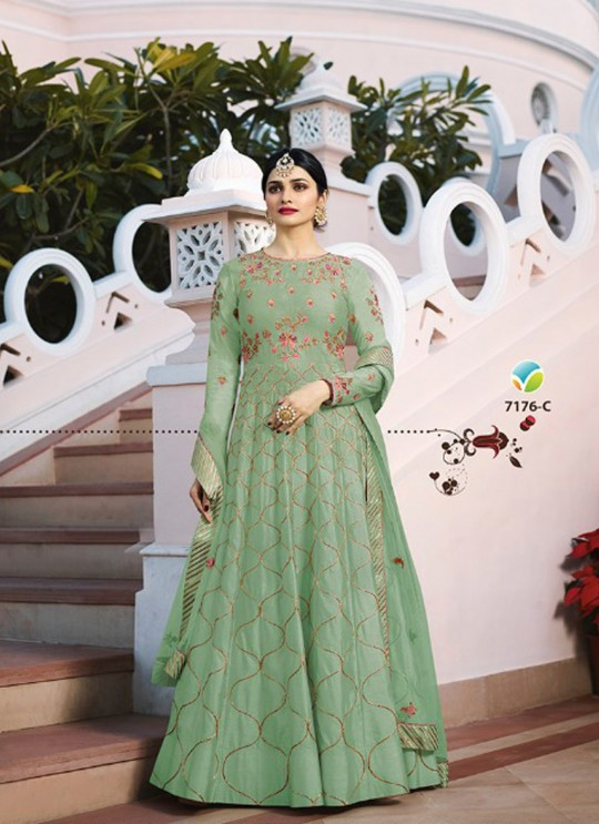 Green Silk Floor Length Anarkali Raj Mahal 7176C By Vinay Fashion