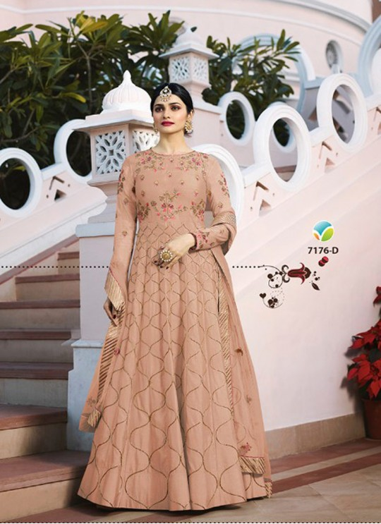 Peach Silk Floor Length Anarkali Raj Mahal 7176D By Vinay Fashion