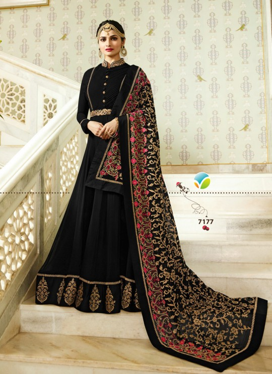Black Georgette Floor Length Anarkali Raj Mahal 7177 By Vinay Fashion
