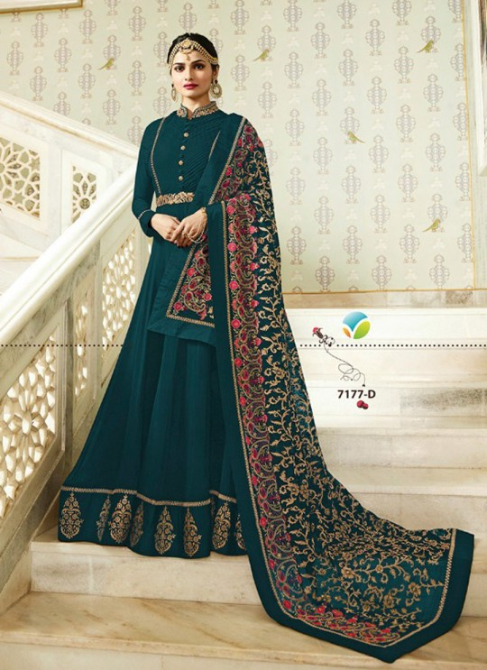 Sea Green Georgette Floor Length Anarkali Raj Mahal 7177D By Vinay Fashion