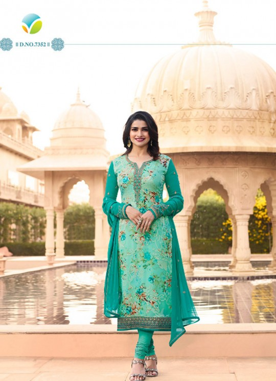 Sea Green Brasso Georgette Straight SuitS Victoria Vol 2 7352 By Vinay Fashion