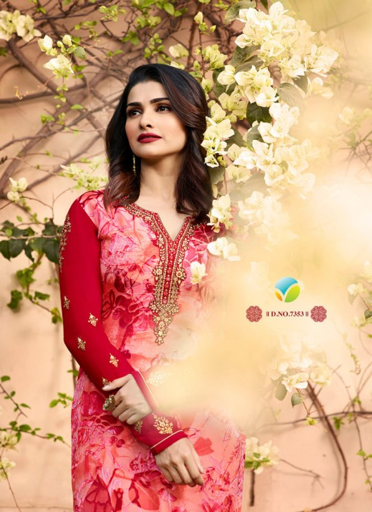 Red Brasso Georgette Straight SuitS Victoria Vol 2 7353 By Vinay Fashion