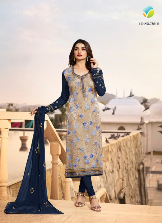 Beige N Blue Brasso Georgette Straight SuitS Victoria Vol 2 7354 By Vinay Fashion
