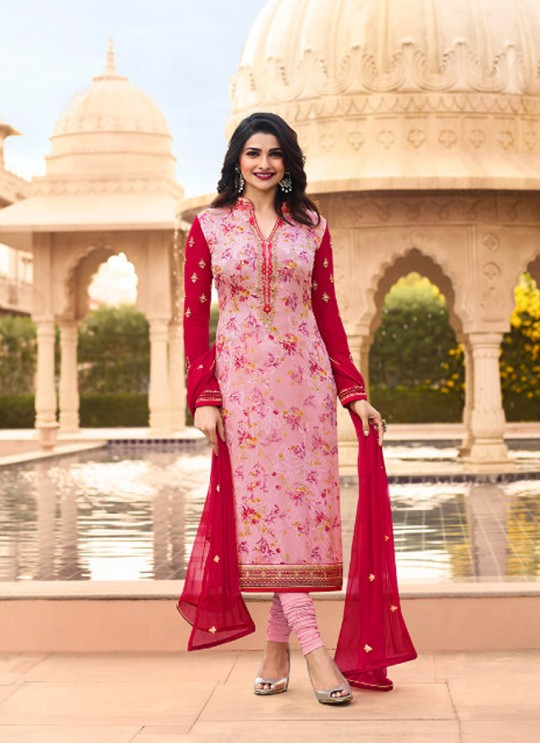 Red Brasso Georgette Straight SuitS Victoria Vol 2 7355 By Vinay Fashion