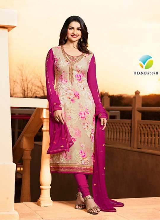 Cream N Magenta Brasso Georgette Straight SuitS Victoria Vol 2 7357 By Vinay Fashion