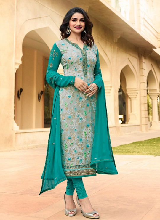 Teal Green Brasso Georgette Straight SuitS Victoria Vol 2 7358 By Vinay Fashion
