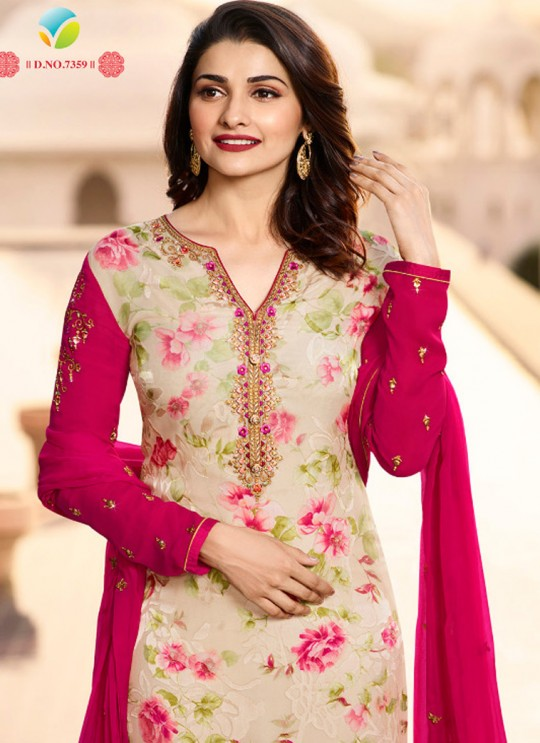 Beige N Pink Brasso Georgette Straight SuitS Victoria Vol 2 7359 By Vinay Fashion