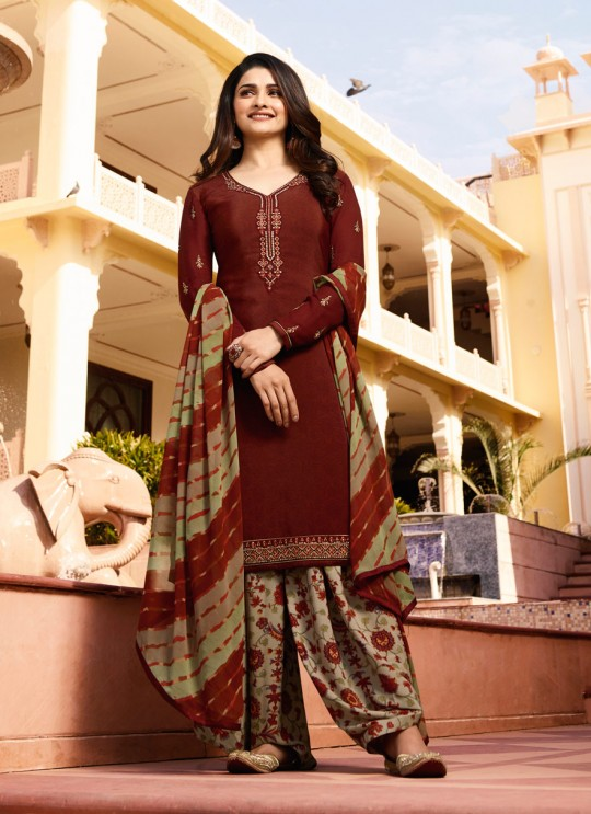 Wine Crepe Patiala Salwar Suit Silkina Royal Crepe 16 7442 By Vinay Fashion