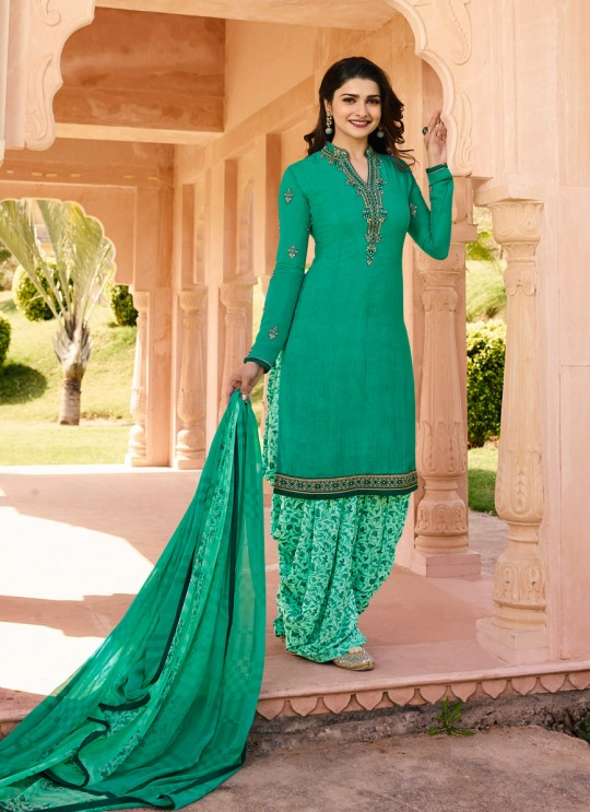 Green Crepe Patiala Salwar Suit Silkina Royal Crepe 16 7443 By Vinay Fashion