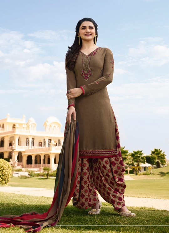 Brown Crepe Patiala Salwar Suit Silkina Royal Crepe 16 7444 By Vinay Fashion