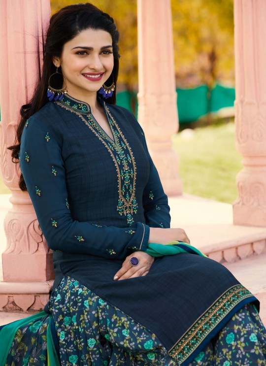 Blue Crepe Patiala Salwar Suit Silkina Royal Crepe 16 7445 By Vinay Fashion
