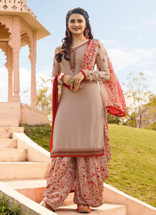 Cream Crepe Patiala Salwar Suit Silkina Royal Crepe 16 7448 By Vinay Fashion