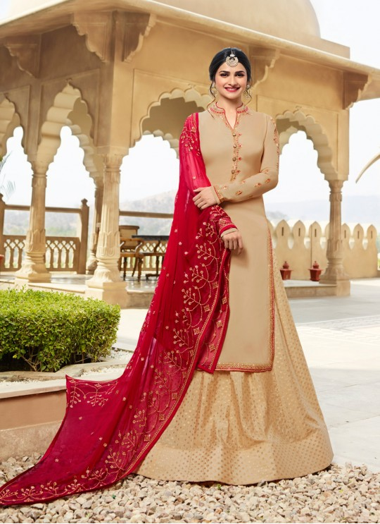 Gold Georgette Satin Skirt Kameez Kaseesh Fortune 7533 By Vinay Fashion