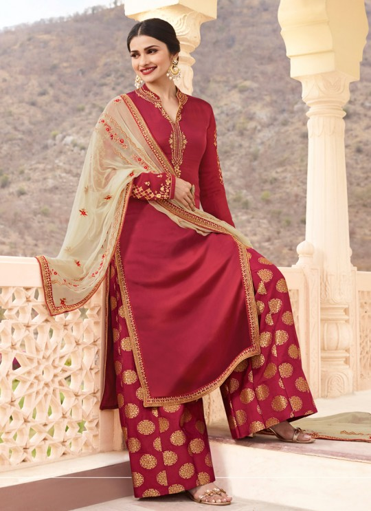 Maroon Georgette Satin Skirt Kameez Kaseesh Fortune 7535 By Vinay Fashion