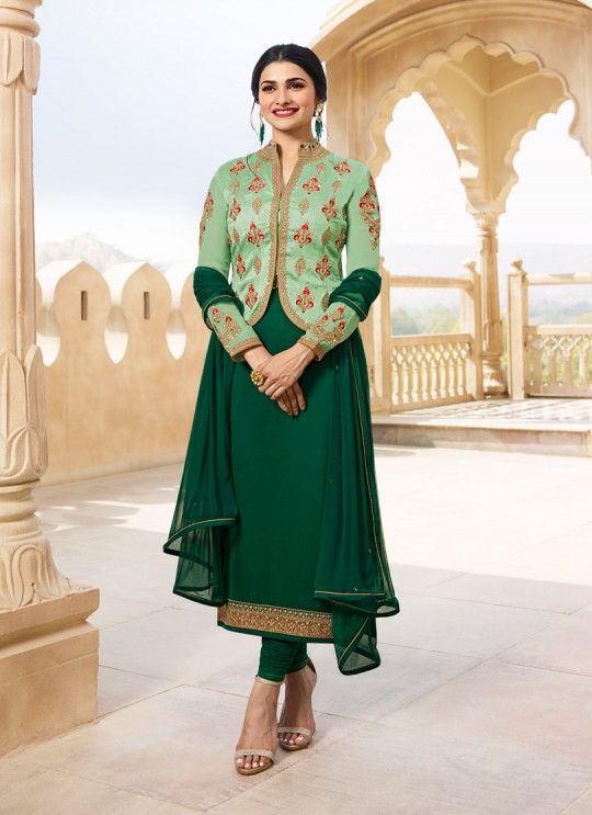 Green Georgette Satin Jacket Style Suit Kaseesh Fortune 7536 By Vinay Fashion