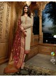 Beige Satin Churidar Suits Banaras 2 7626 By Vinay Fashion