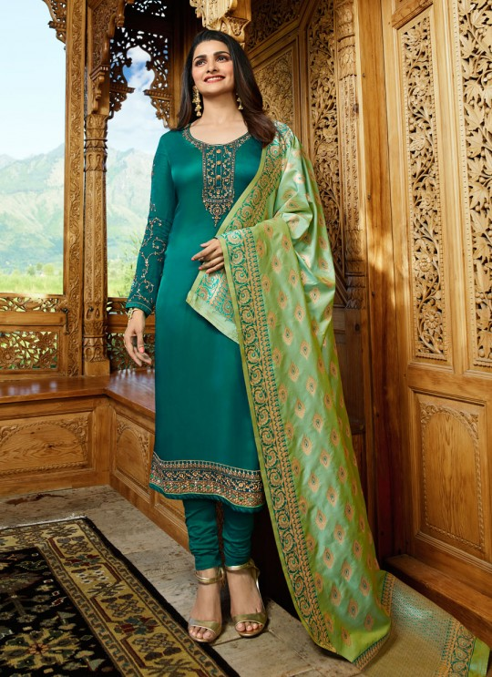 Green Satin Churidar Suits Banaras 2 7628 By Vinay Fashion
