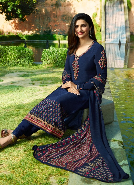 Blue Crepe Straight Suit Silkina Royal Crepe 17 7891 By Vinay Fashion