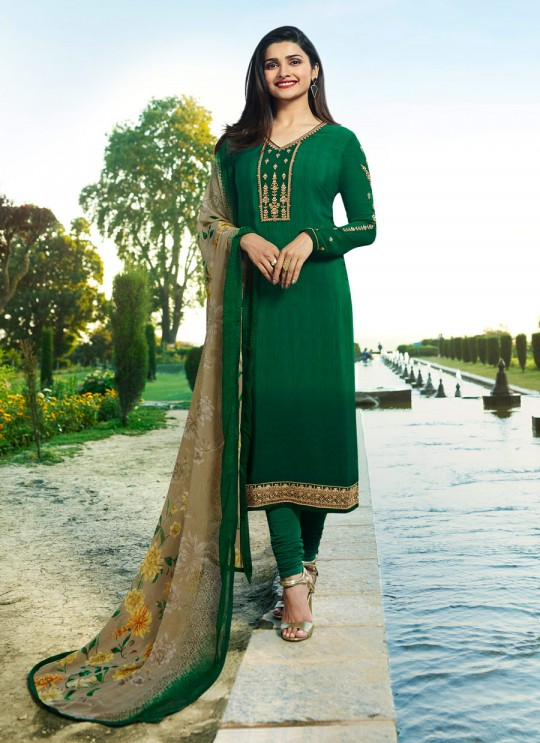 Green Crepe Straight Suit Silkina Royal Crepe 17 7892 By Vinay Fashion