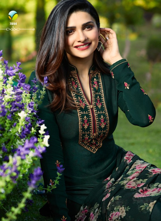 Green Crepe Straight Suit Silkina Royal Crepe 17 7894 By Vinay Fashion