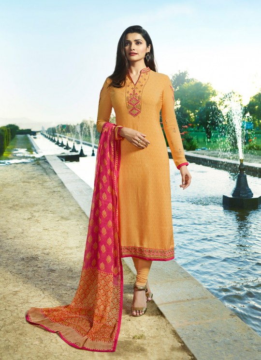Yellow Crepe Straight Suit Silkina Royal Crepe 17 7895 By Vinay Fashion