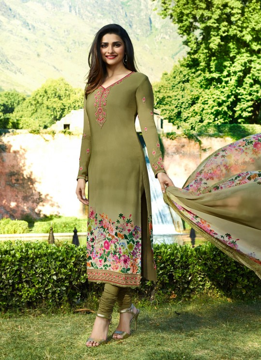 Olive Green Crepe Straight Suit Silkina Royal Crepe 17 7896 By Vinay Fashion