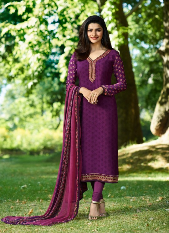 Purple Crepe Straight Suit Silkina Royal Crepe 17 7897 By Vinay Fashion