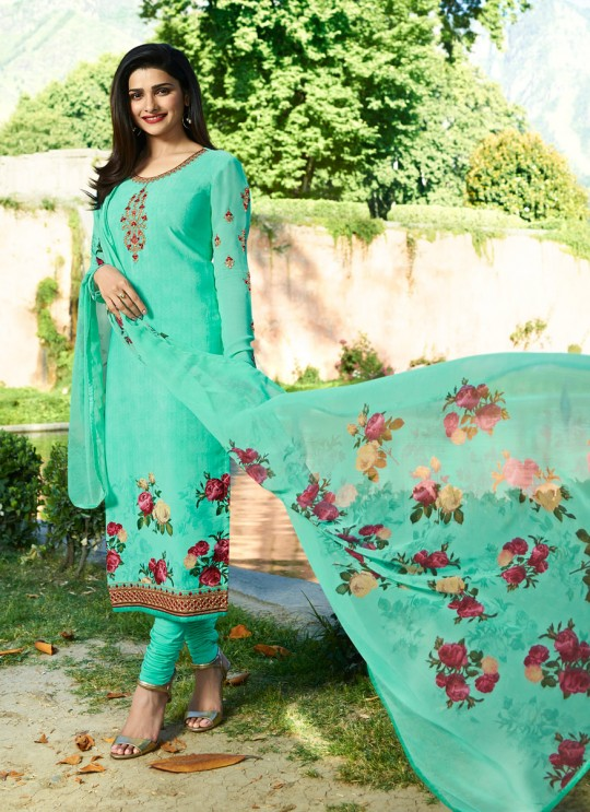 Turquoise Crepe Straight Suit Silkina Royal Crepe 17 7898 By Vinay Fashion