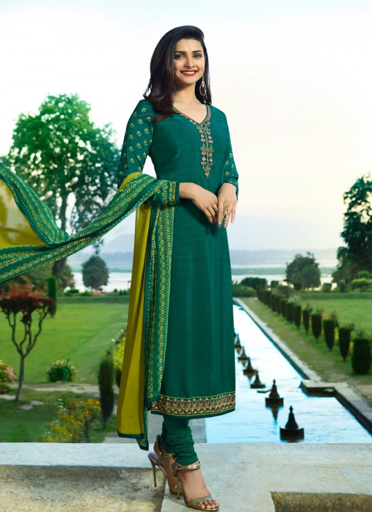 Gren Crepe Straight Suit Silkina Royal Crepe 17 7900 By Vinay Fashion