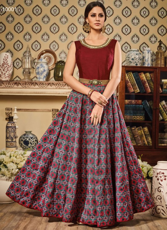 Maroon Art Silk Gown Suit By Vipul Fashion VIPUL-10001