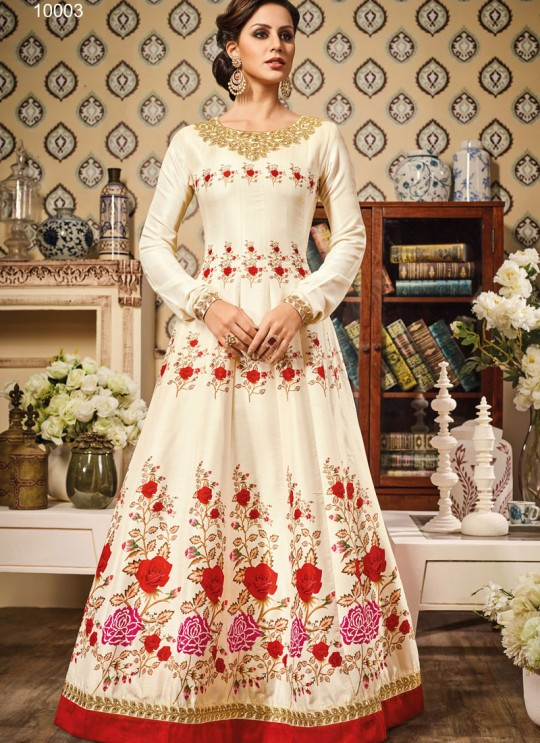 Cream Art Silk Gown Suit By Vipul Fashion VIPUL-10003