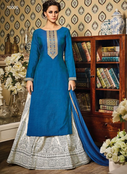 Blue Art Silk Gown Suit By Vipul Fashion VIPUL-10006