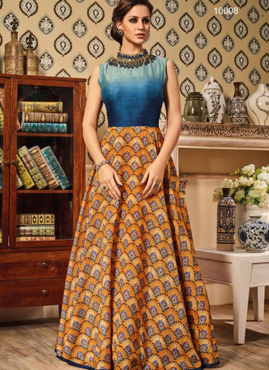 Multicolor Art Silk Gown Suit By Vipul Fashion VIPUL-10008