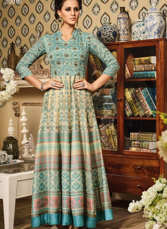 Blue Art Silk Gown Suit By Vipul Fashion VIPUL-10010