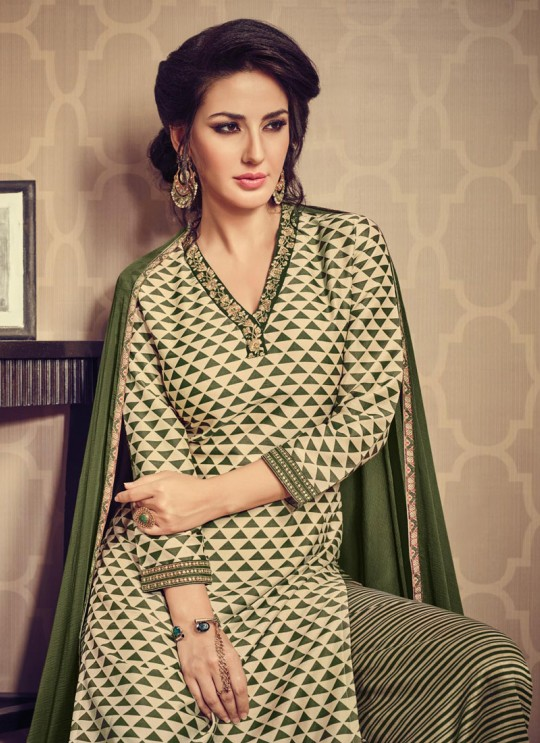 Green Art Silk Palazzo Suit By Vipul Fashion Vipul-10113