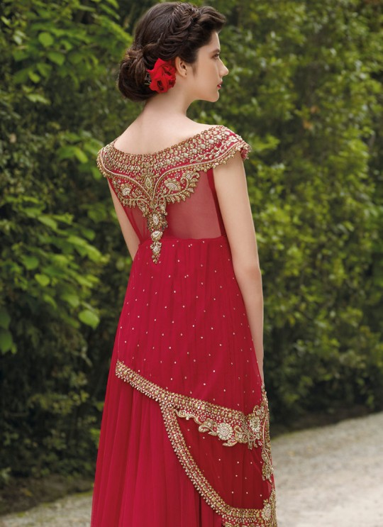 Red Net Gown Style Anarkali By Vipul Fashion Vipul-3501