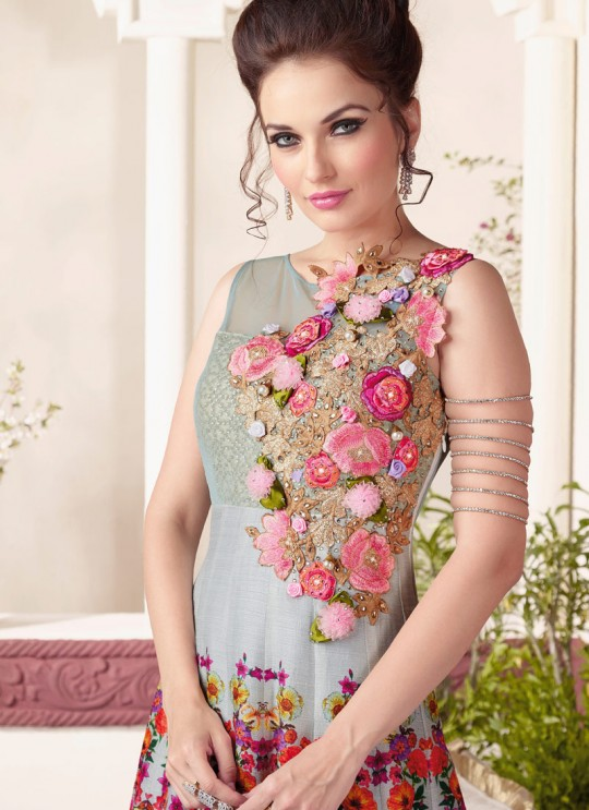 Grey Art Silk Floor Length Anarkali By Vipul Fashion Vipul-3800A