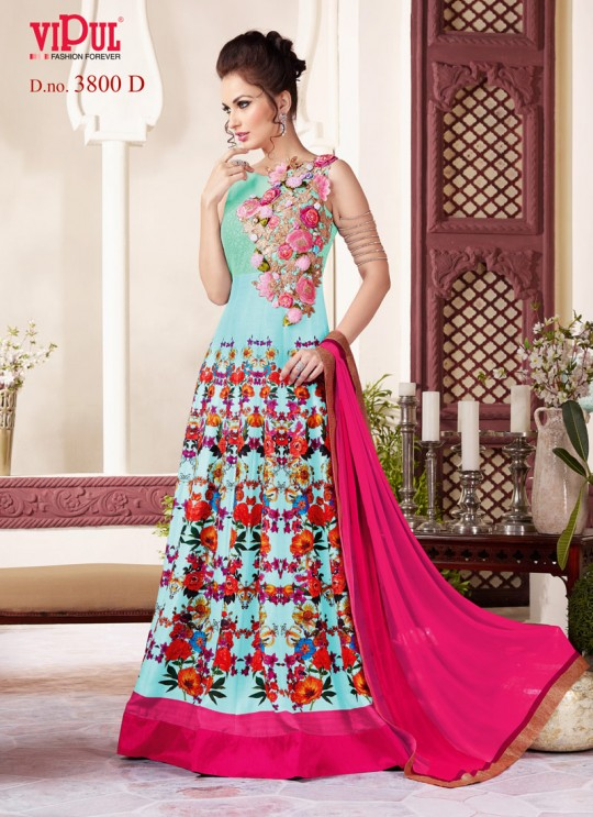 Blue Art Silk Floor Length Anarkali By Vipul Fashion Vipul-3800D