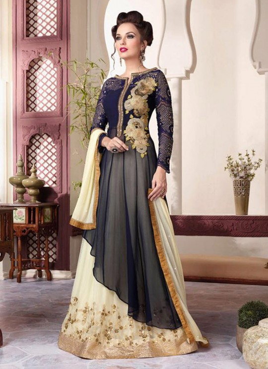 Blue Net Gown Style Anarkali By Vipul Fashion Vipul-3801