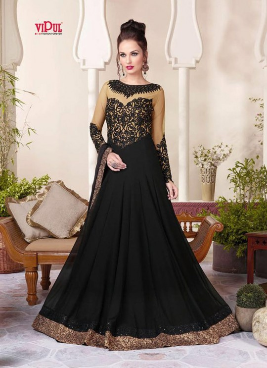 Black Faux Georgette Gown Style Anarkali By Vipul Fashion Vipul-3803