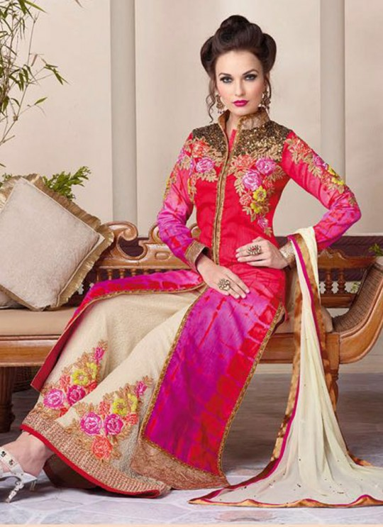 Multicolor Art Silk Palazzo Suit By Vipul Fashion Vipul-3809