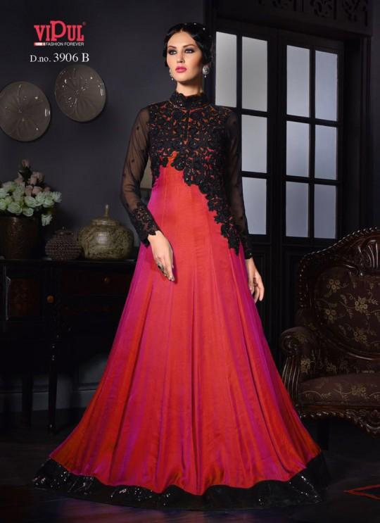 Red Art Silk Gown Style Anarkali By Vipul Fashion Vipul-3906C RED